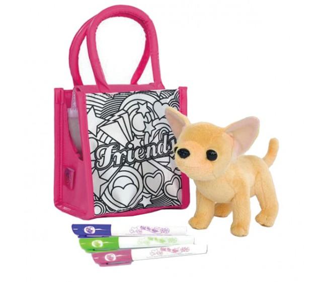 Плюшевая чихуахуа с сумочкой и фломастерамиChi Chi Love - cобачки в сумочке<br>Плюшевая чихуахуа с сумочкой и фломастерами<br>