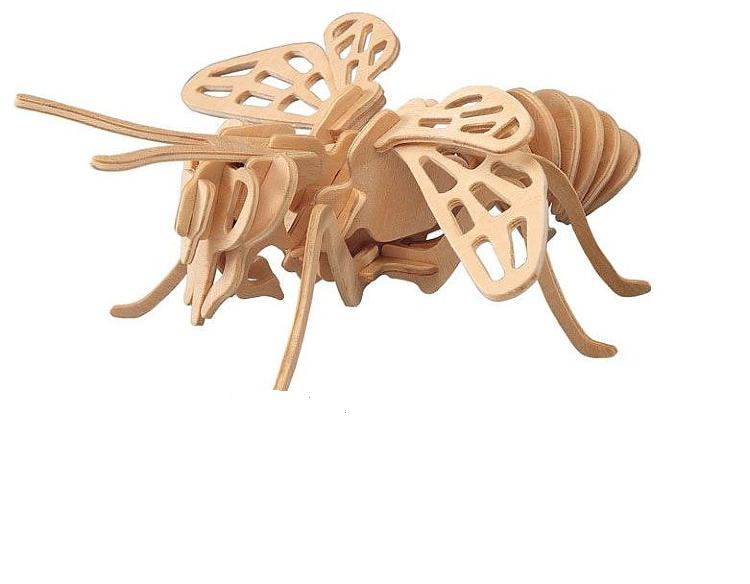 Модель деревянная сборная - Шмель малыйПазлы объёмные 3D<br>Модель деревянная сборная - Шмель малый<br>