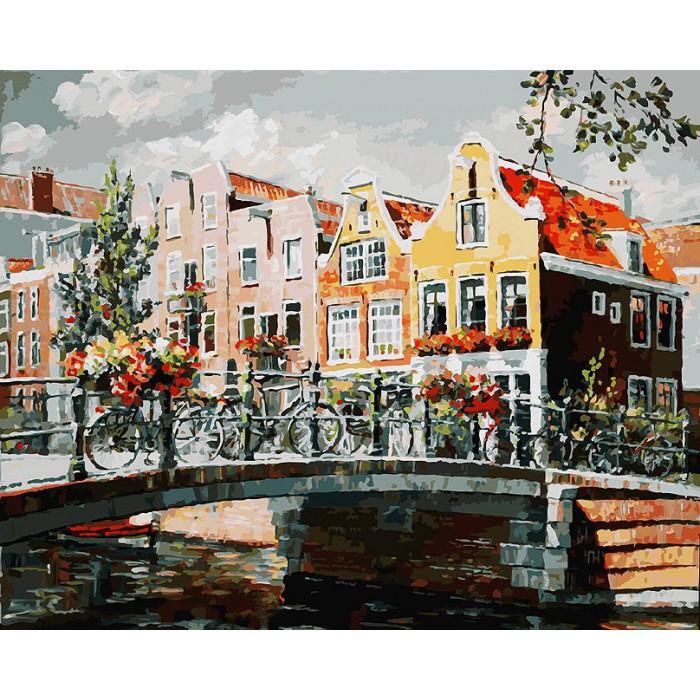Купить Раскраски по номерам - Амстердам. Мост через канал, 40 х 50 см., Белоснежка