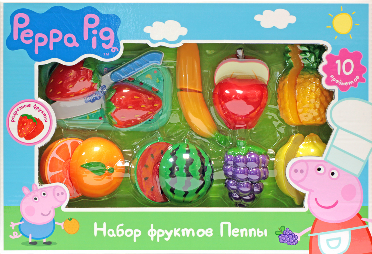 Игровой набор фруктов - Peppa, 10 предметовАксессуары и техника для детской кухни<br>Игровой набор фруктов - Peppa, 10 предметов<br>