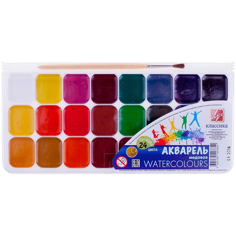 Акварель – Классика, 24 цвета, с кистьюКраски<br>Акварель – Классика, 24 цвета, с кистью<br>