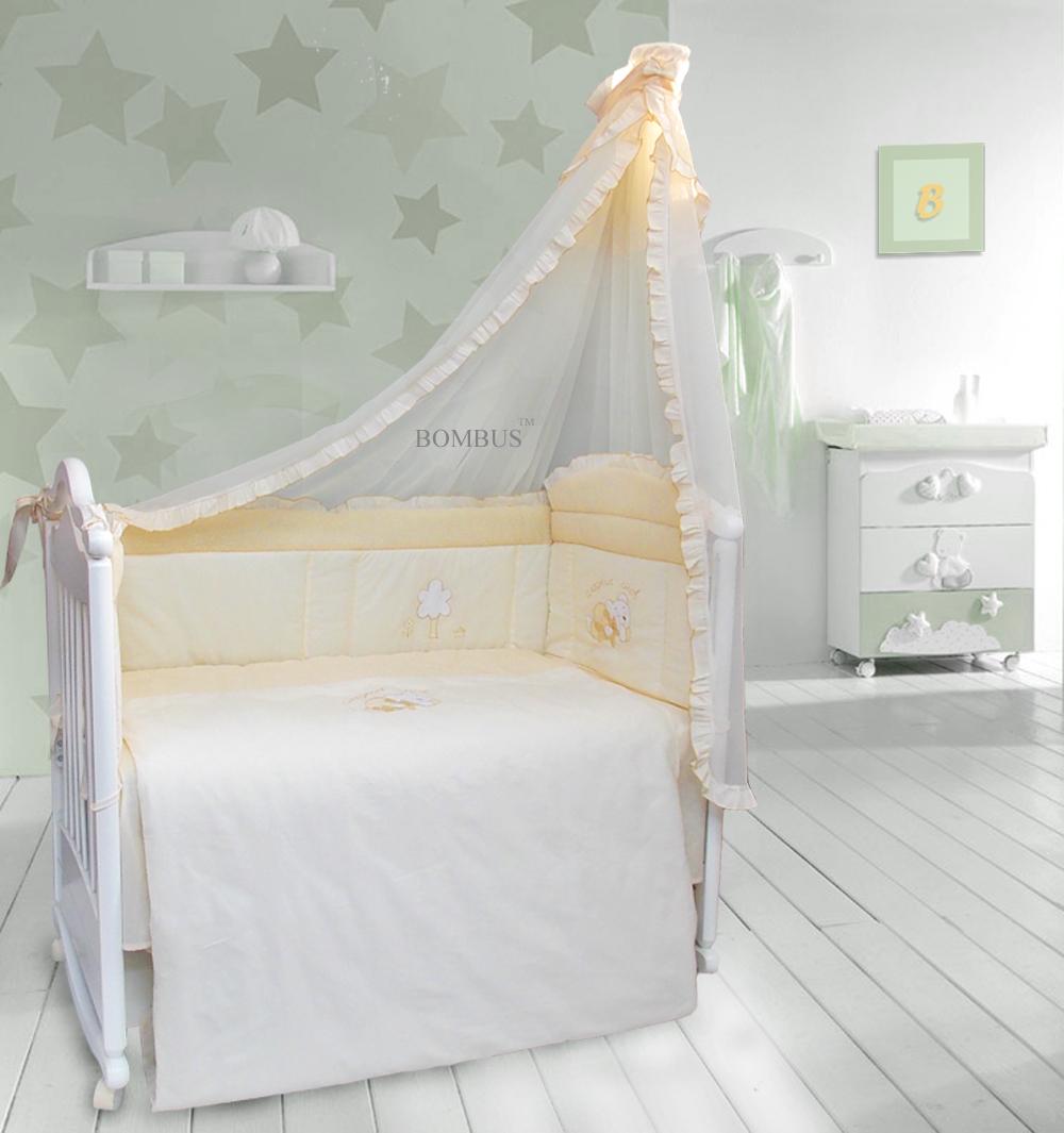 Комплект в кроватку - Светик, 7 предметов, бежевыйДетское постельное белье<br>Комплект в кроватку - Светик, 7 предметов, бежевый<br>