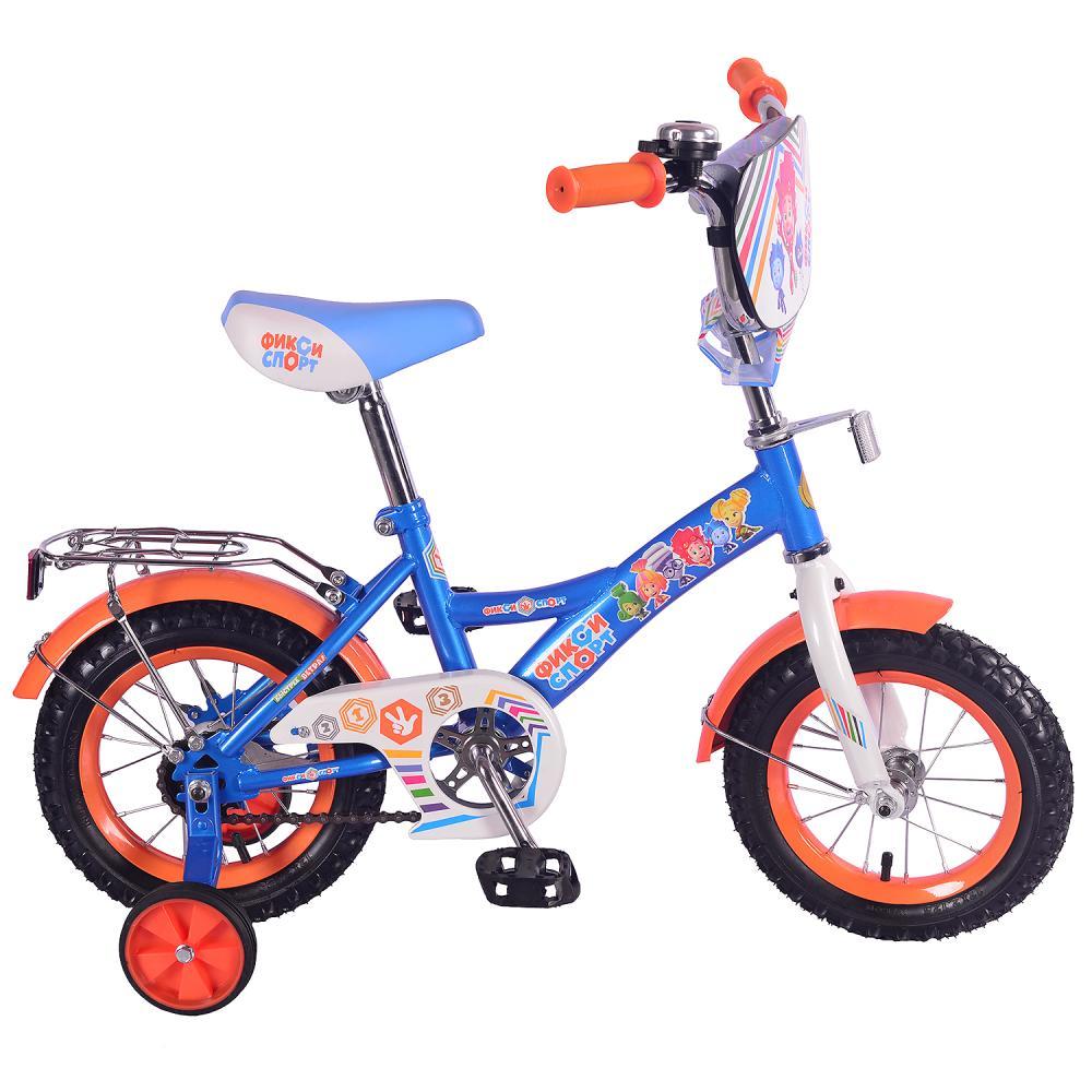 Купить Детский велосипед – Фиксики, колеса 12 дюйм, GW-тип, багажник страховочные колеса, звонок, сине-оранжевый, Mustang