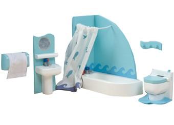 Набор кукольной мебели для ванной - Сахарная сливаКукольные домики<br>Набор кукольной мебели для ванной - Сахарная слива<br>