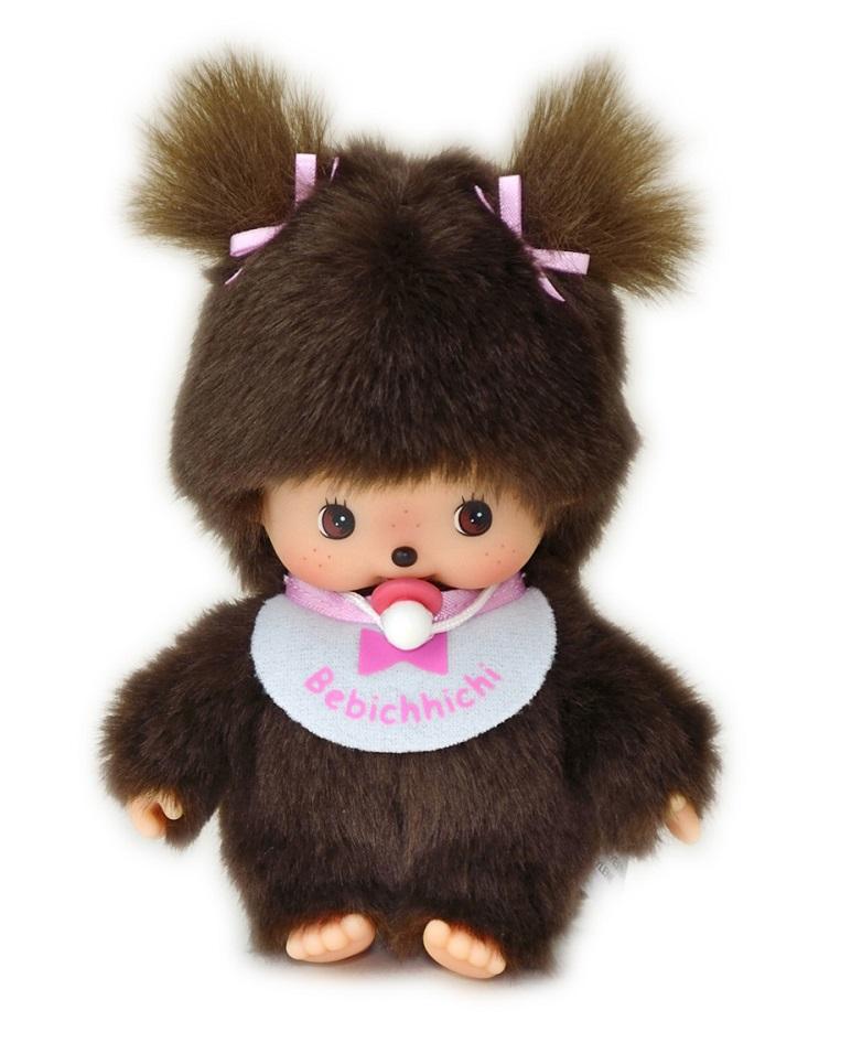 Купить Мягкая игрушка – девочка в розовом слюнявчике Бэбичичи, 15 см., Monchhichi