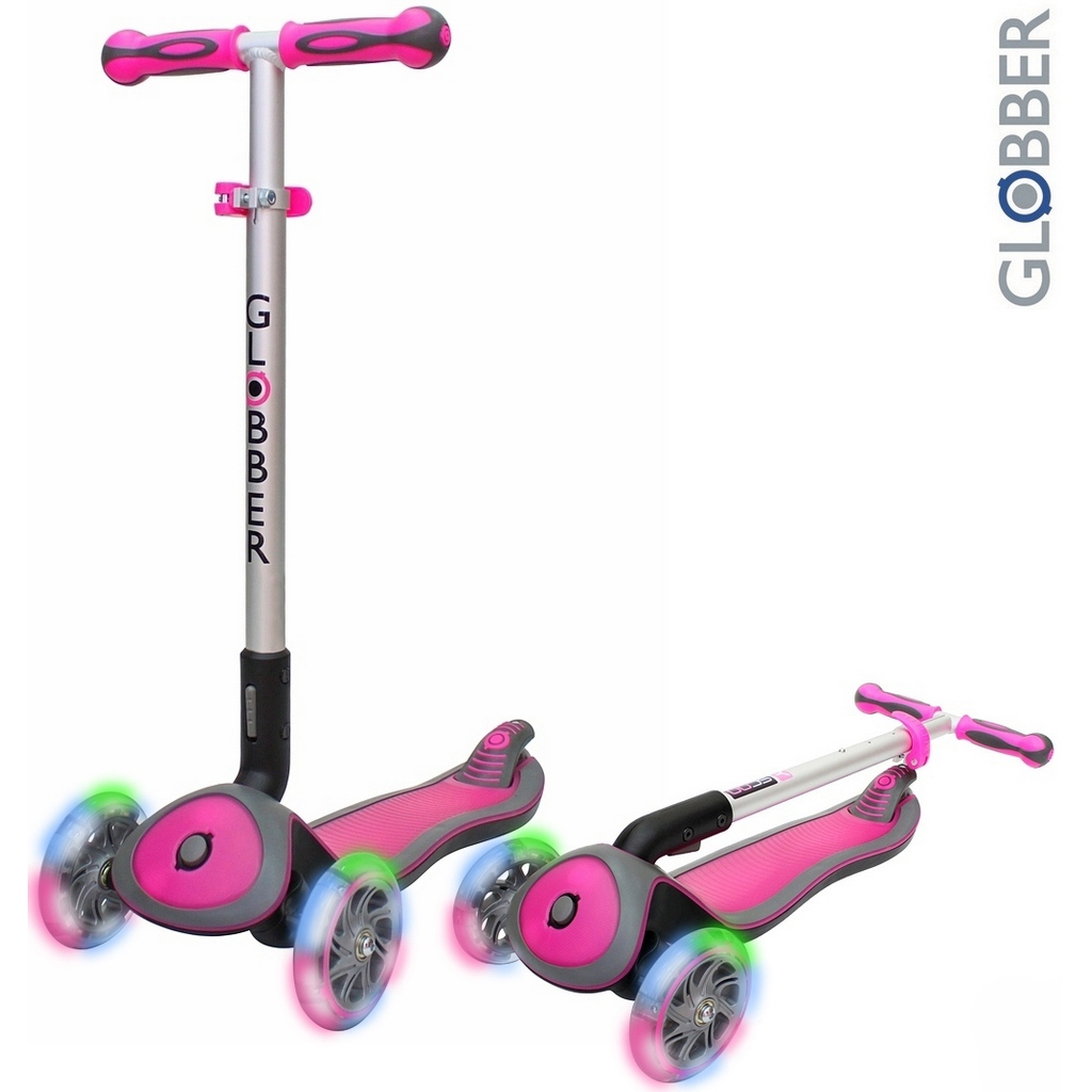Купить Самокат Globber Elite SL My Free Fold up 445-110 со светящимися колесами, розовый, Y-SCOO Globber