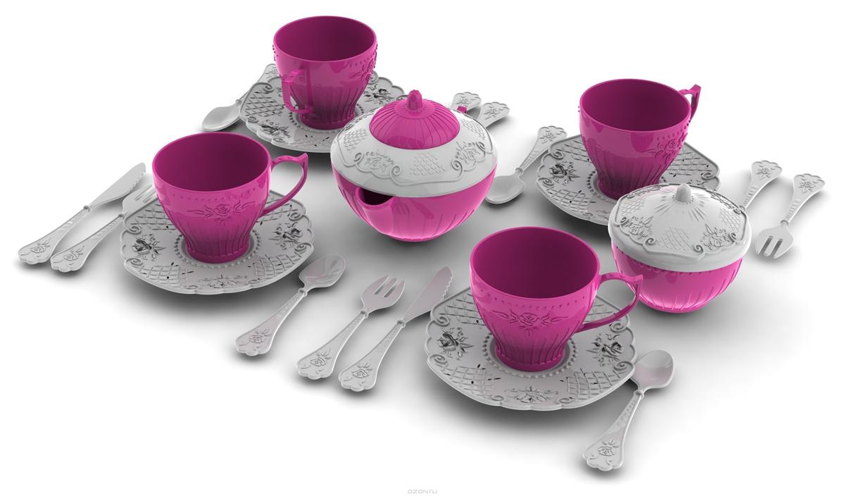 Посуда, 24 предмета, серия Волшебная хозяюшкаАксессуары и техника для детской кухни<br>Набор игрушечной посуды - Волшебная хозяюшка станет замечательным подарком для любой девочки. В наборе есть все необходимое (24 предмета), чтобы устроить чаепитие для друзей.<br>