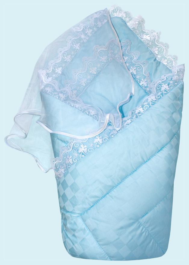 Купить Конверт-одеяло на выписку сатин жакард, голубой, Золотой гусь