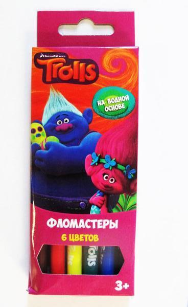 Фломастеры - Тролли, 6 цветов