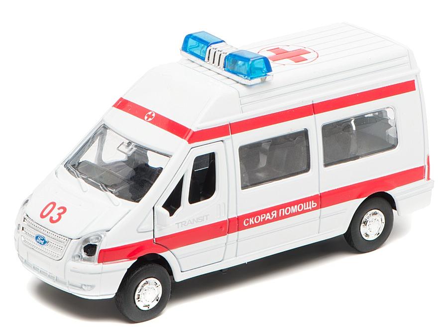 Машина металлическая инерционная - Ford Transit - Скорая помощь со светом и звукомСкорая помощь<br>Машина металлическая инерционная - Ford Transit - Скорая помощь со светом и звуком<br>
