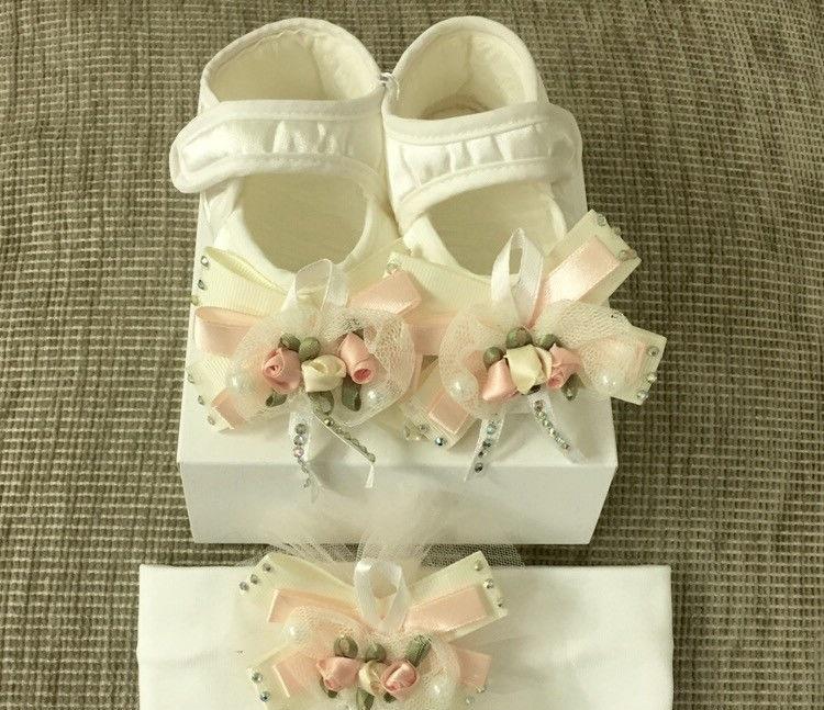 Подарочный набор Little Gift для девочек, пинетки и повязка