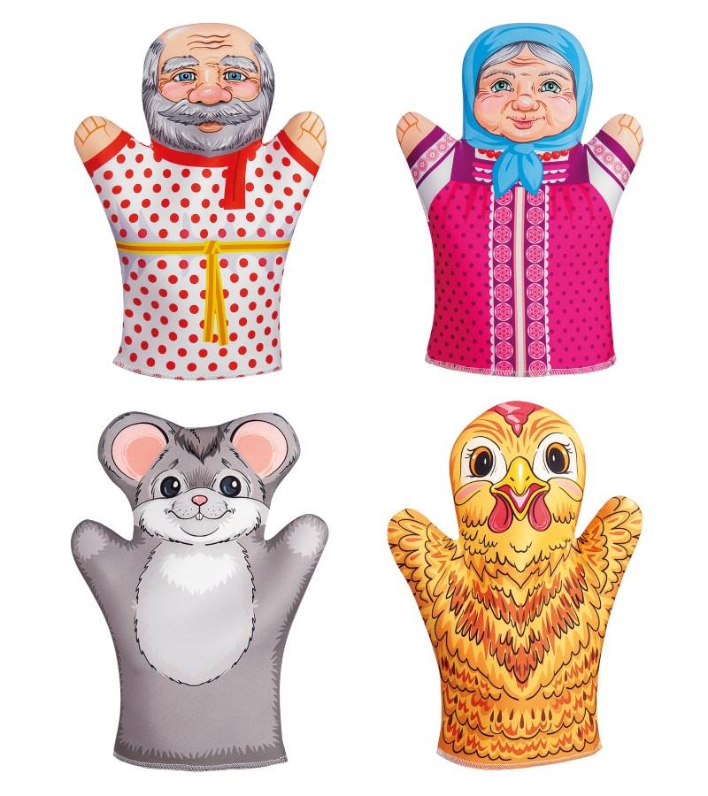 Купить Театр кукольный домашний - Курочка Ряба, 4 куклы-перчатки, Десятое королевство