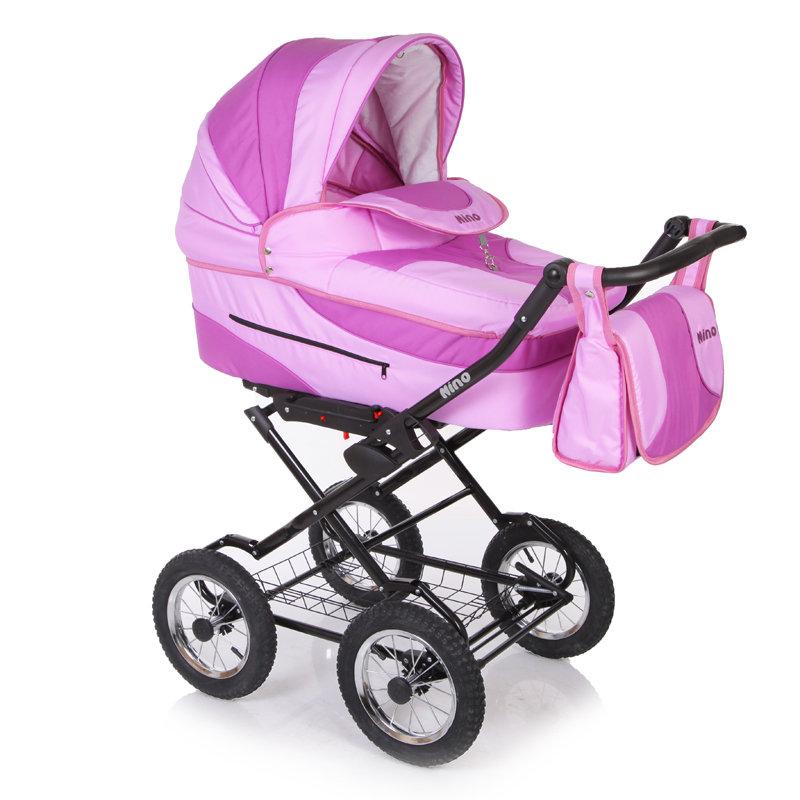 Коляска классическая 2 в 1 - Nino, светло-розовая/светло-сиреневаяДетские коляски 2 в 1<br>Коляска классическая 2 в 1 - Nino, светло-розовая/светло-сиреневая<br>
