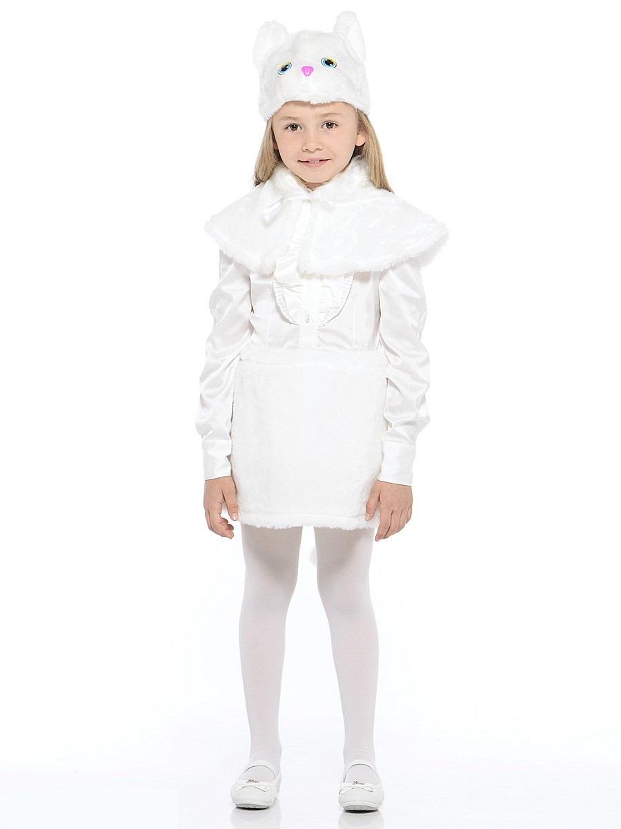 Костюм карнавальный - Кошка белая, мех, размер 28