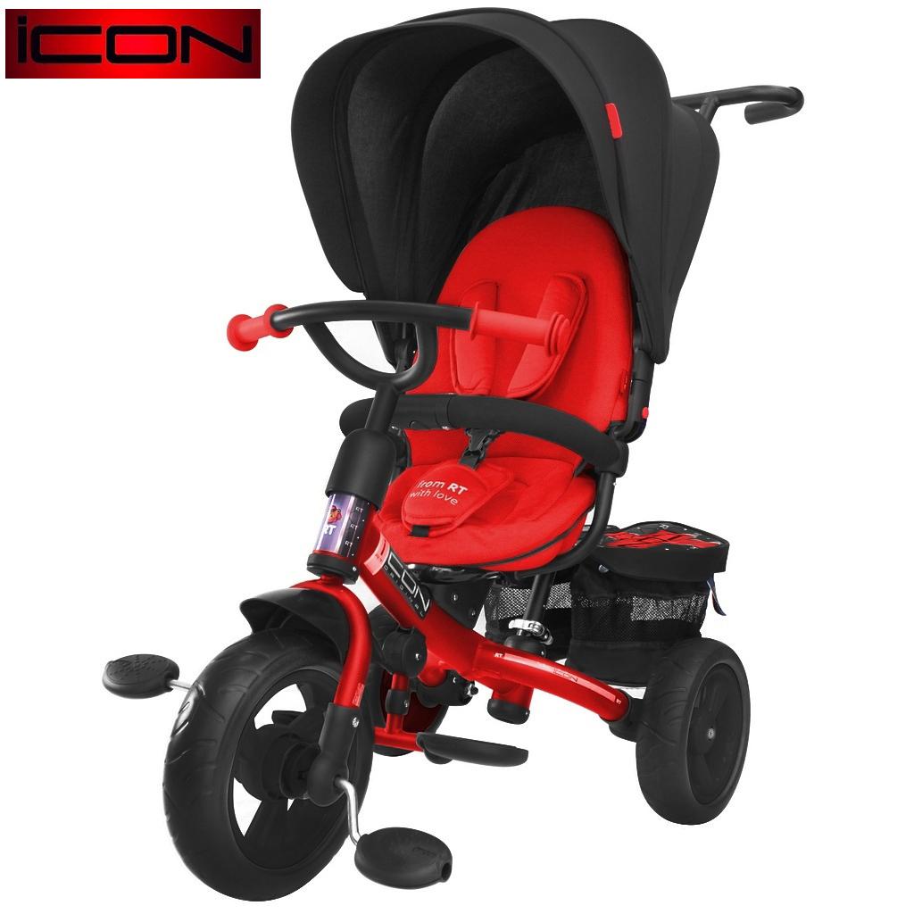 ICON RT original 3-х колёсный велосипед RT Icon evoque New Stroller by Natali Prigaro EVA Black brilliant, красный