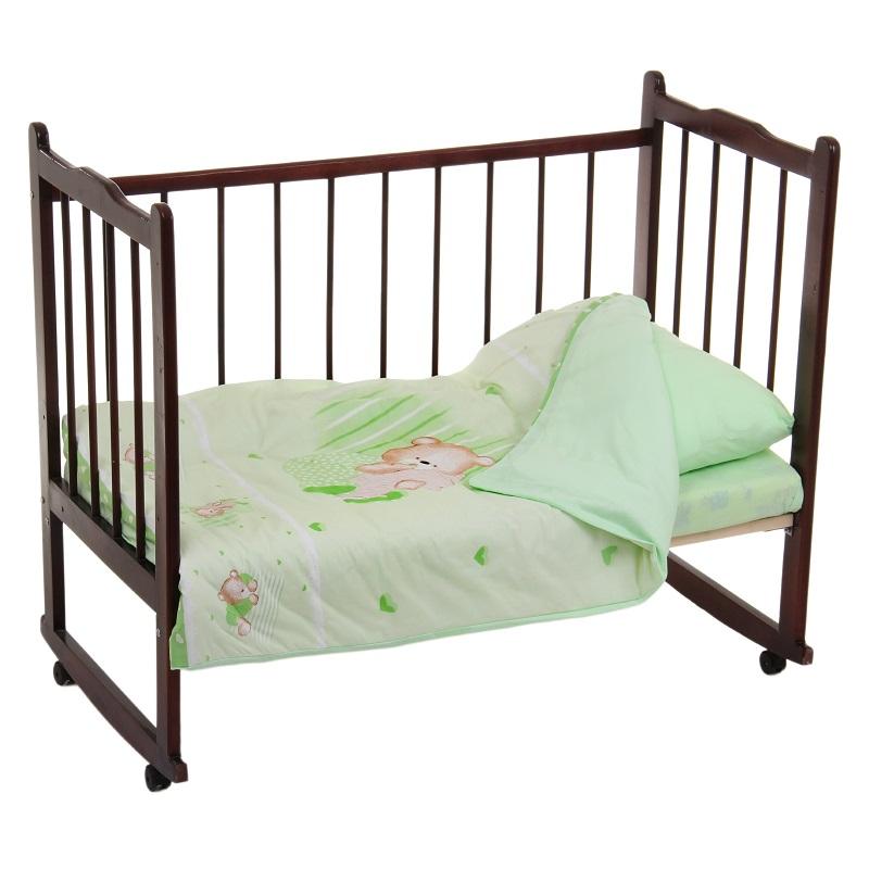 Постельное белье Мишутка, 3 предмета, цвет – зеленыйДетское постельное белье<br>Постельное белье Мишутка, 3 предмета, цвет – зеленый<br>