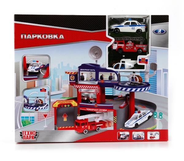 Парковка со спуском, машинками и вертолетомДетские парковки и гаражи<br>Парковка со спуском, машинками и вертолетом<br>