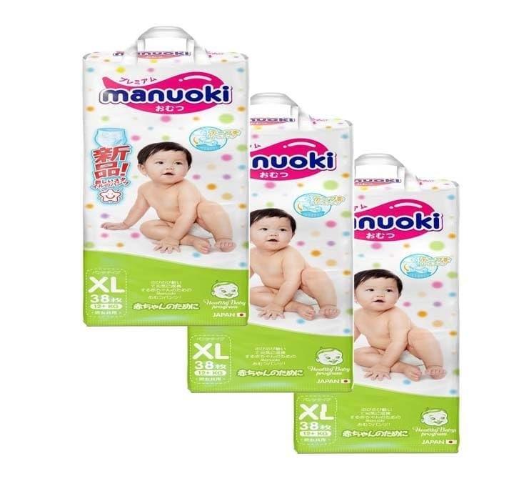 Купить Подгузники трусики размер XL, 12 кг +, 3 пачки по 38 шт, Manuoki