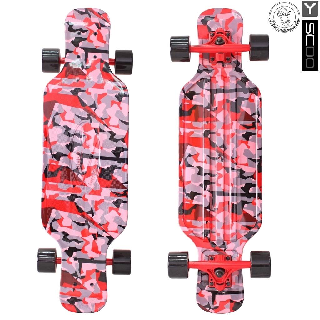Скейтборд пластиковый Y-Scoo Longboard Shark Tir 31 408-Ch с сумкой, красно-черныйДетские скейтборды<br>Скейтборд пластиковый Y-Scoo Longboard Shark Tir 31 408-Ch с сумкой, красно-черный<br>