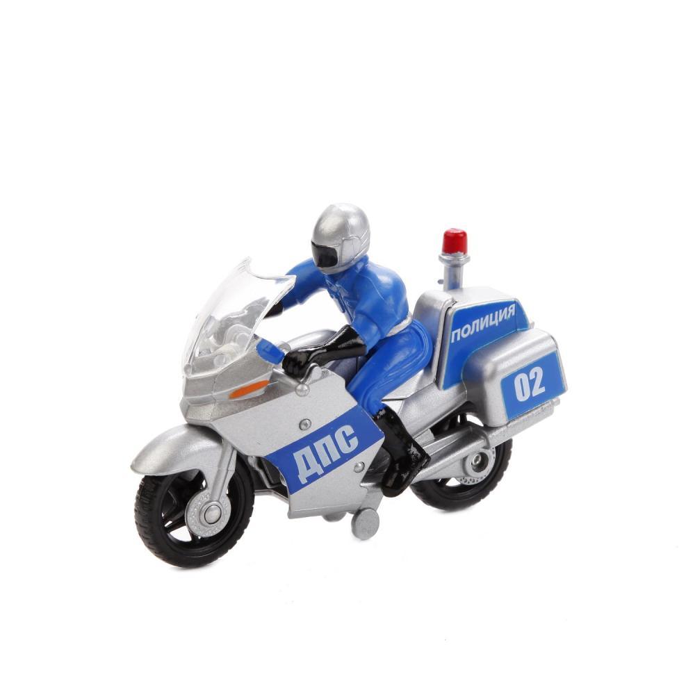 Купить Мотоцикл Полиция/ВС металлический 10 см., с фигуркой, на блистере, Технопарк