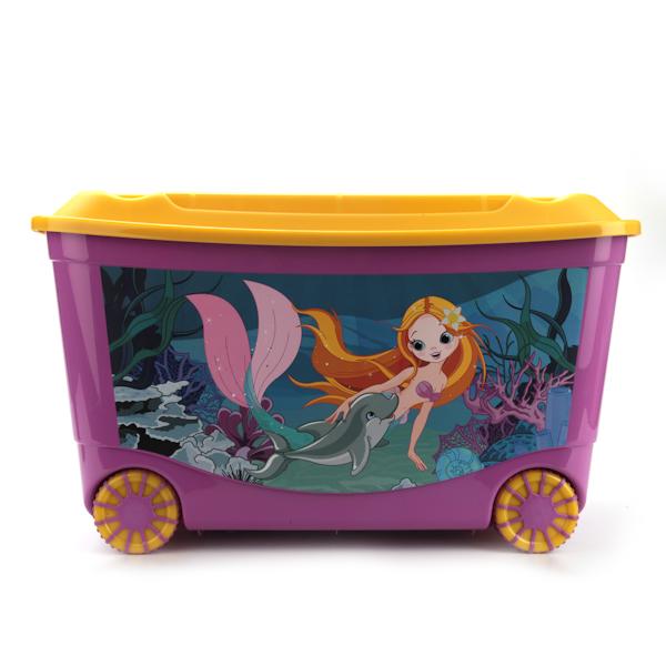 Ящик для игрушек с аппликацией на колесах, размер 58 х 39 х 34 см., сиреневый