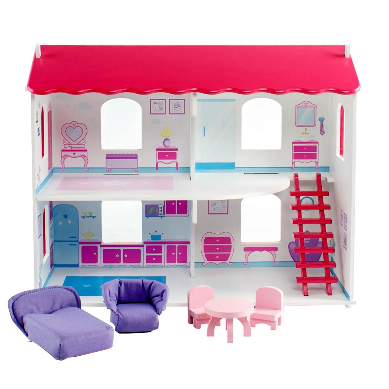 Кукольный дом - Виктория с интерьером и мебелью и 5 предметов фото