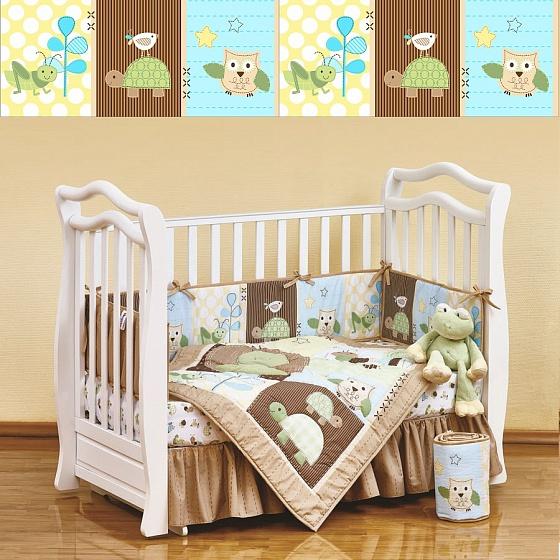 Набор постельного белья для новорожденных Froggy Frieds, 7 предметовДетское постельное белье<br>Набор постельного белья для новорожденных Froggy Frieds, 7 предметов<br>