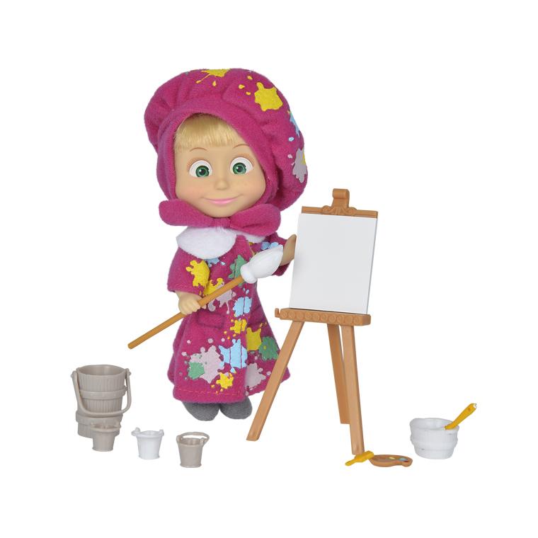 Кукла Маша в одежде художницы с набором для рисования, 12 см. - Маша и медведь игрушки, артикул: 159911