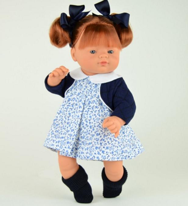 Кукла Джули с синими бантиками, 36 см.Куклы ASI (Испания)<br>Кукла Джули с синими бантиками, 36 см.<br>