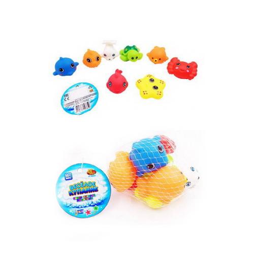 Набор резиновых морских обитателей для ванной из серии Веселое купание, 8 предметов, в сеткеРезиновые игрушки<br>Набор резиновых морских обитателей для ванной из серии Веселое купание, 8 предметов, в сетке<br>