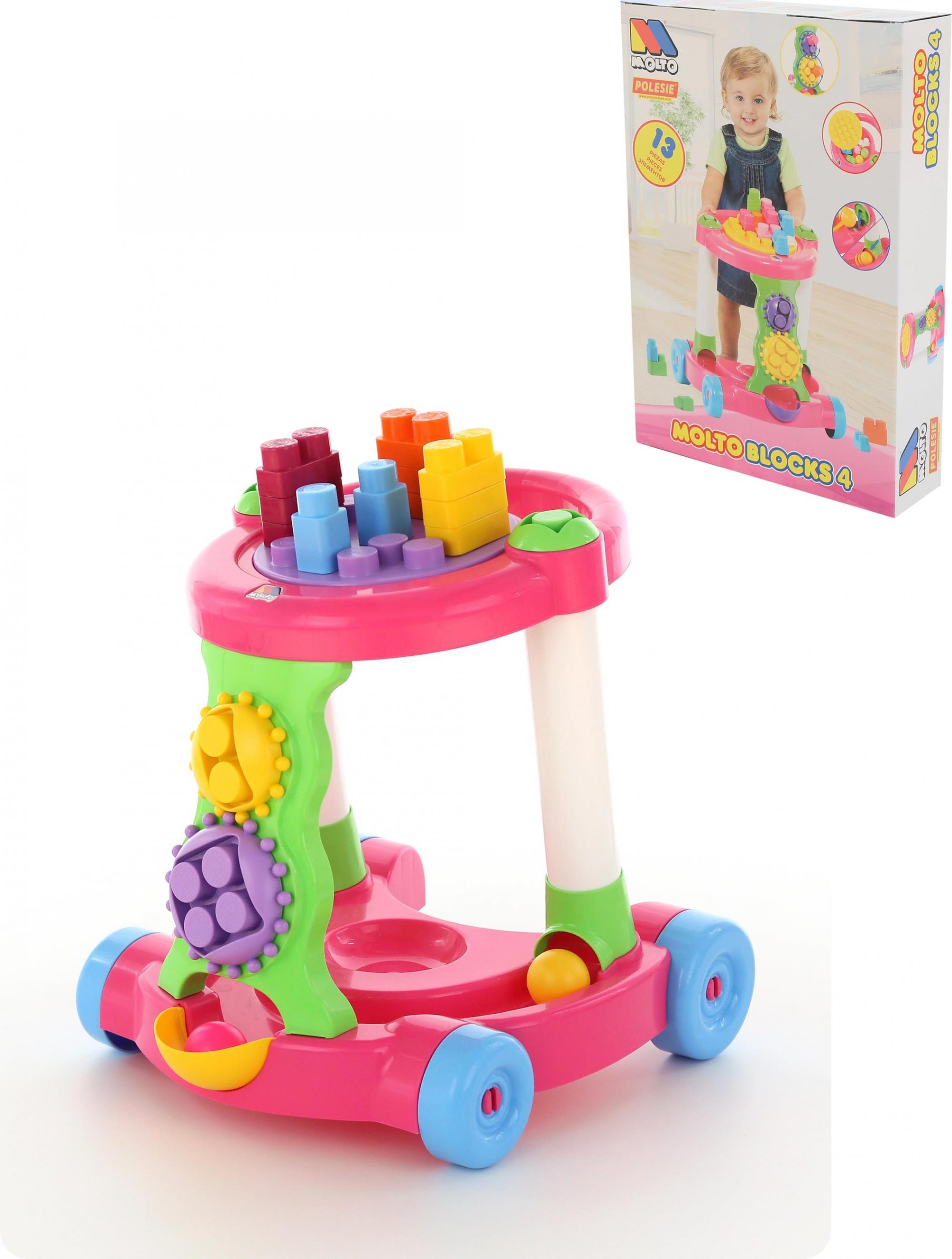 Каталка игровая с конструктором, розовая - Ходунки, артикул: 148015
