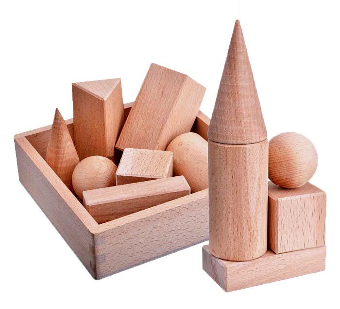Набор геометрических тел, 7 деталейДеревнный конструктор<br>Набор геометрических тел, 7 деталей<br>
