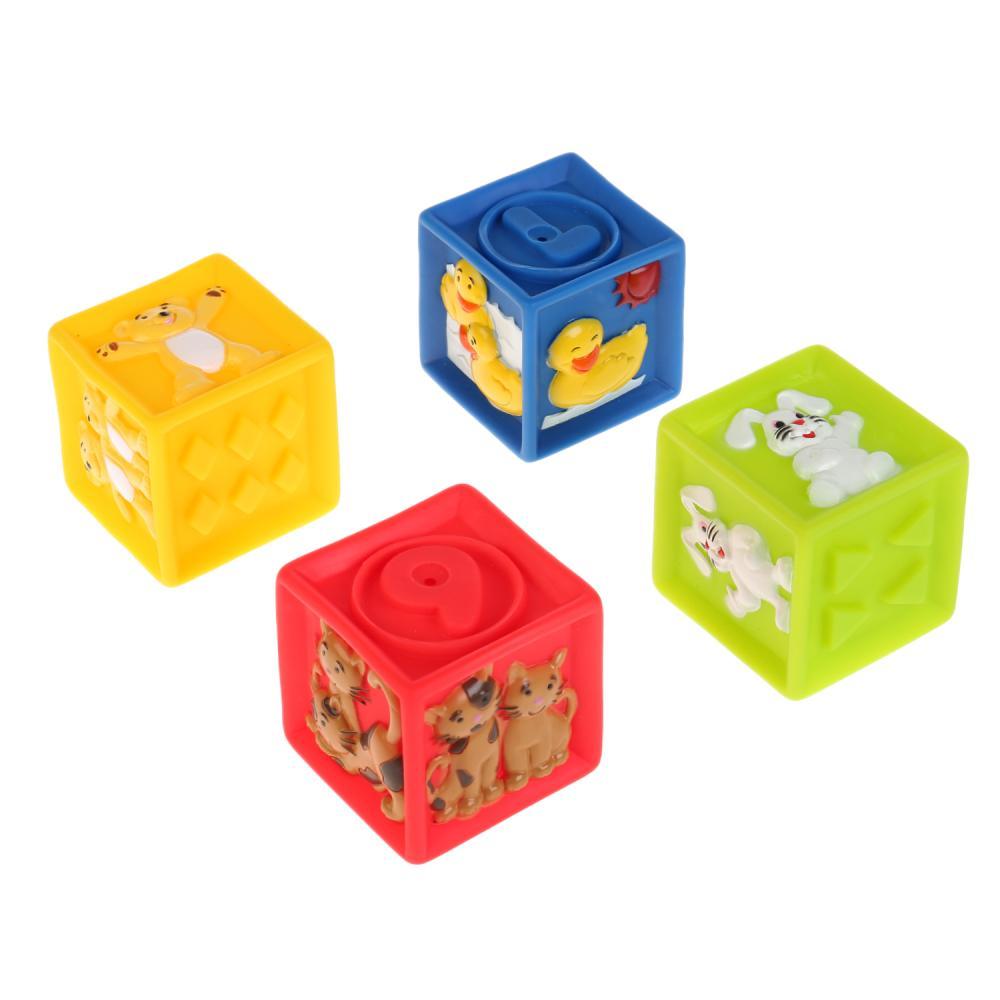 Купить Игрушки из пластизоля для купания - Кубики с животными, 4 шт., в сетке, Играем вместе