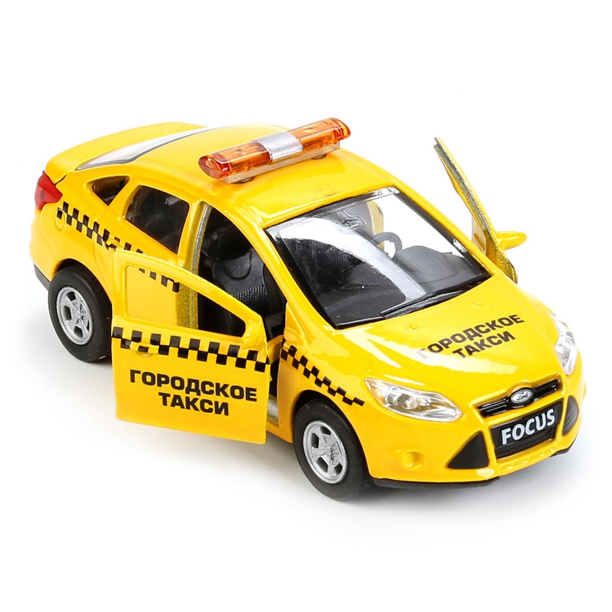 Машина металлическая инерционная – Форд Фокус Такси, 12 см, открываются двери и багажник, Технопарк  - купить со скидкой