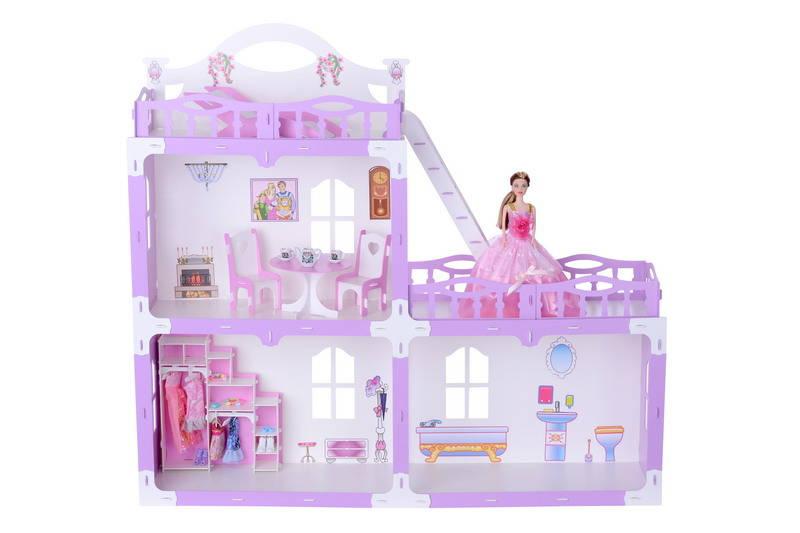 Домик с мебелью для кукол – Анна, бело-сиреневый