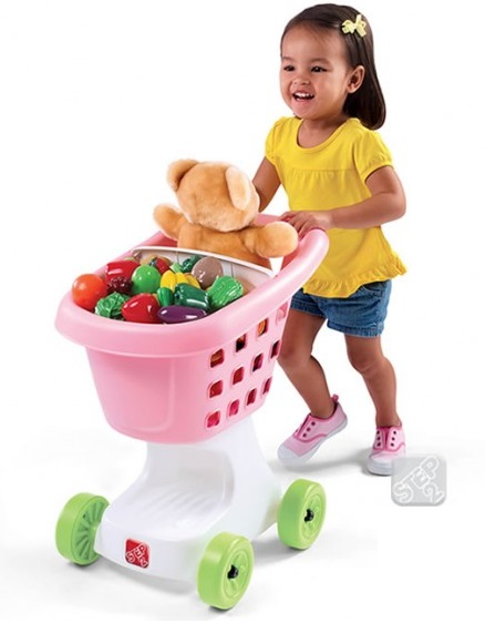 Тележка для супермаркета Step 2, розоваяДетская игрушка Касса. Магазин. Супермаркет<br>Тележка для супермаркета Step 2, розовая<br>
