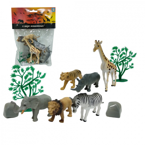 Купить Набор В мире животных – Дикие животные, 10 штук, 1TOY