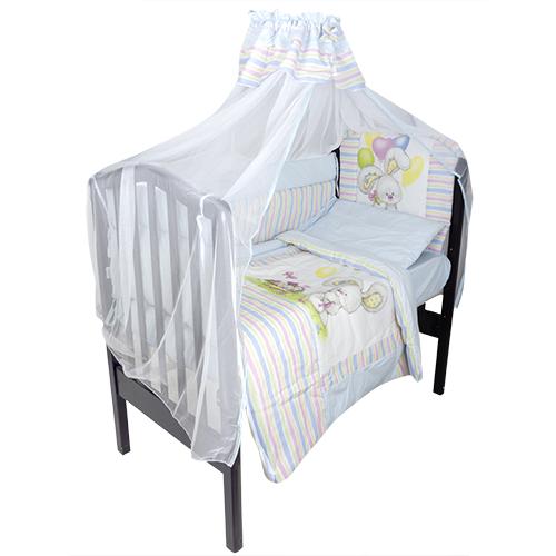 Комплект в кроватку – Радужный, 7 предметов, голубойДетское постельное белье<br>Комплект в кроватку – Радужный, 7 предметов, голубой<br>