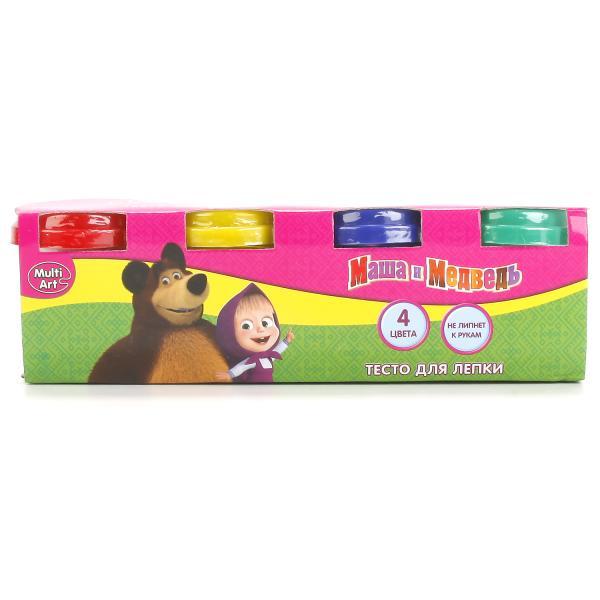Тесто для лепки из серии Маша и Медведь, 4 цвета и формочки на крышках Multiart