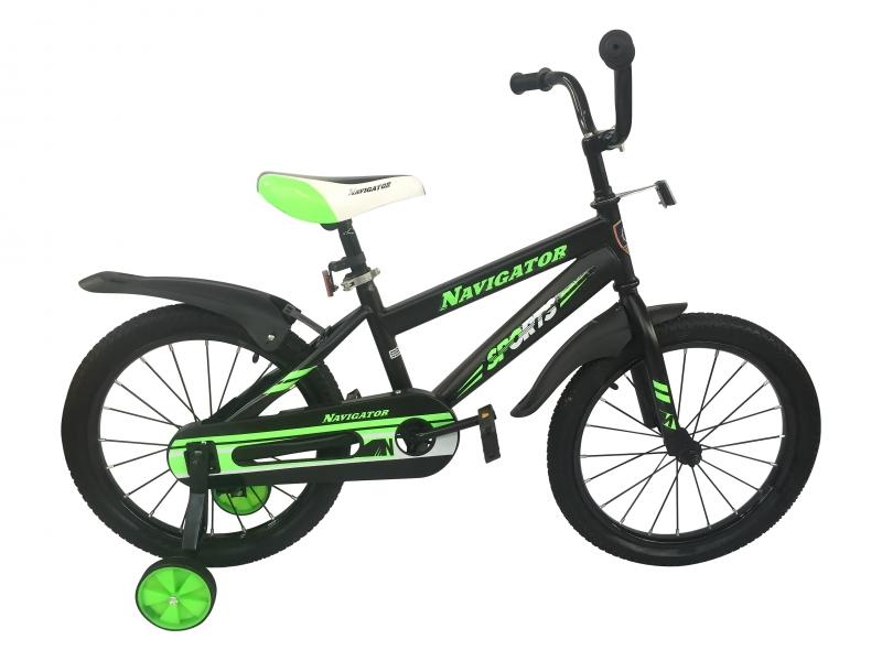 Купить Детский велосипед Navigator Sports черный, колеса 18 , стальная рама, стальные обода, ножной тормоз