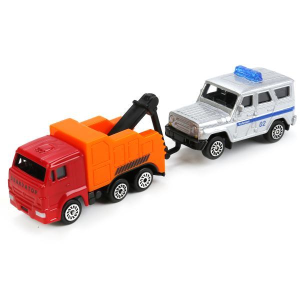 Купить Набор из 2 металлических машин – Камаз эвакуатор и УАЗ Хантер, 7, 5 см, Технопарк