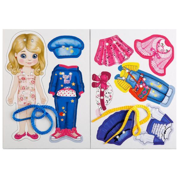 картинка Настольная игра-шнуровка – Одень куклу. Блондинка от магазина Bebikam.ru