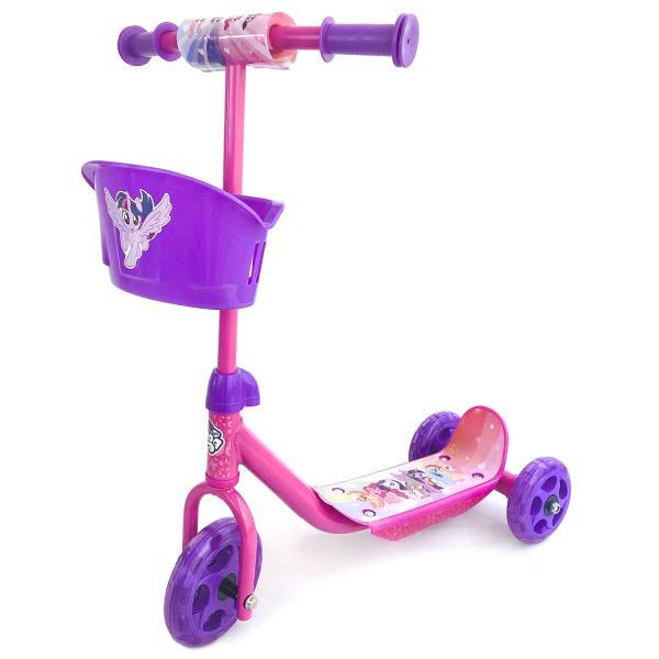 Купить Самокат 3-х колесный Hasbro - My Little Pony, розовый с корзинкой