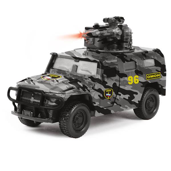 Купить Машина металлическая инерционная ГАЗ - Тигр ОМОН, 1:43, со светом и звуком, Технопарк