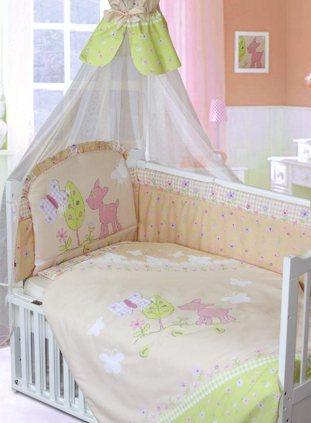 Комплект в кроватку – Little Friend, 7 предметов, бежевыйДетское постельное белье<br>Комплект в кроватку – Little Friend, 7 предметов, бежевый<br>