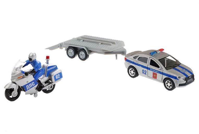 Купить Набор металлический инерционный – Lada Vesta Полиция с мотоциклом на прицепе, 12 см, Технопарк