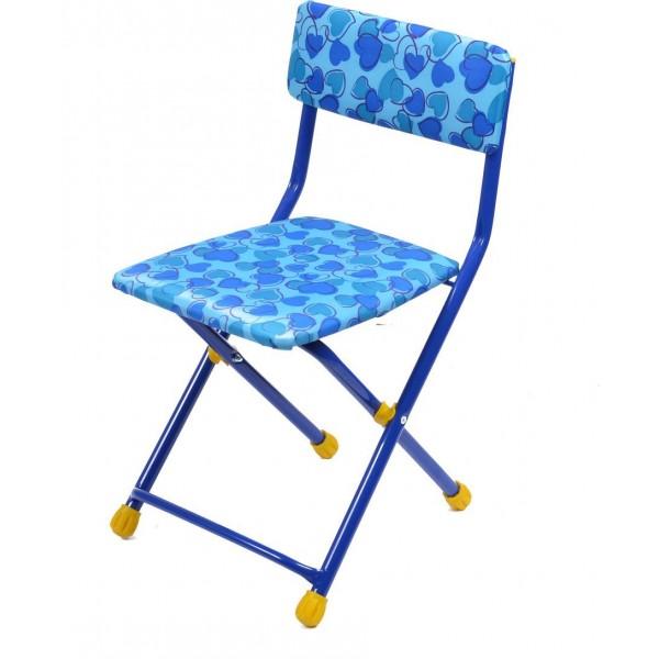 Стул детский складной мягкий из моющейся ткани, голубой с сердечкамиИгровые столы и стулья<br>Стул детский складной мягкий из моющейся ткани, голубой с сердечками<br>