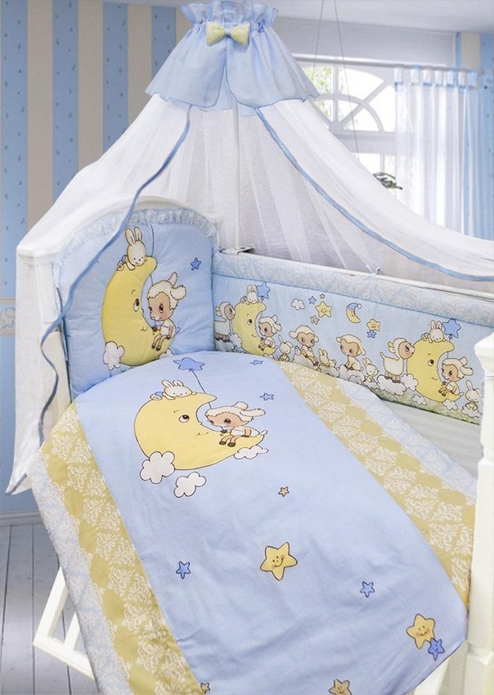 Комплект в кроватку 7 предметов - Овечка на луне, голубойДетское постельное белье<br>Комплект в кроватку 7 предметов - Овечка на луне, голубой<br>