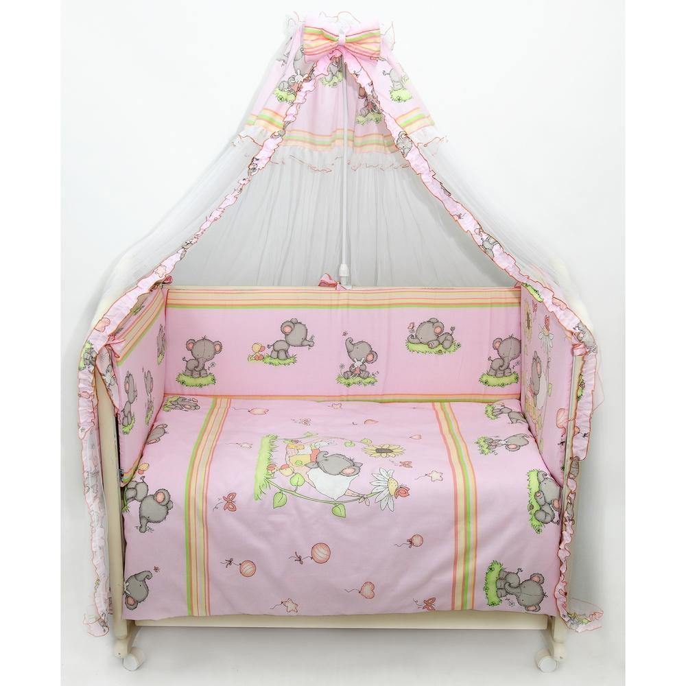 Бампер в кроватку – Слоники, розовыйДетское постельное белье<br>Бампер в кроватку – Слоники, розовый<br>