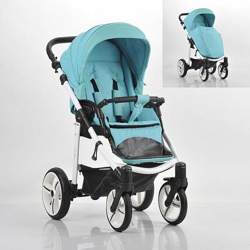 Детская прогулочная коляска Nico, голубая, шасси белая/BIAДетские прогулочные коляски<br>Детская прогулочная коляска Nico, голубая, шасси белая/BIA<br>